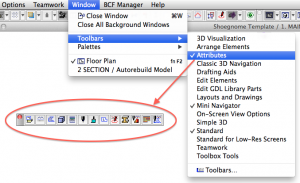 archicad attributes toolbar
