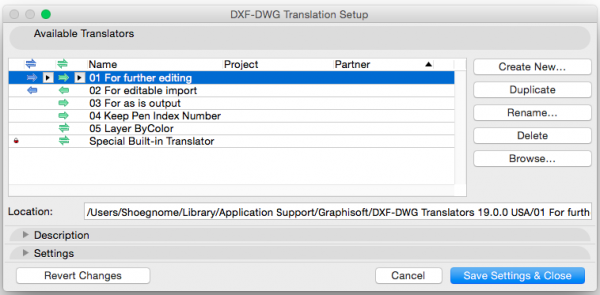 DXF-DWG Translation Setup AC19