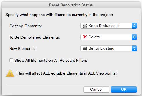 Reset Renovation Status