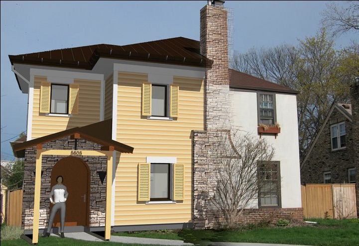 MinnePHit House (Passive House retrofit—EnerPHit), Minneapolis, MN: Before and after entry elevation